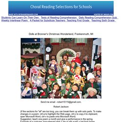 Choral Reading Selections - Favorite Poems for Choral Reading