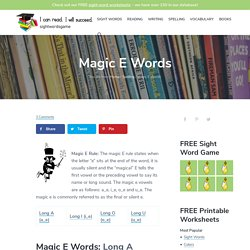 Magic E Words - Sight Words, Reading, Writing, Spelling & Worksheets