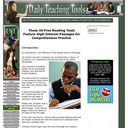 10 Free Reading Tests for Students in Grades 5 Through 9