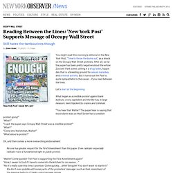 Reading Between the Lines:'New York Post' Supports Message of Occupy Wall Street