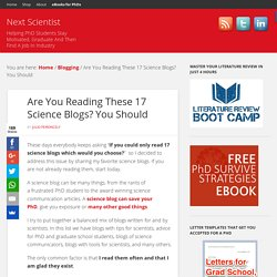 Are You Reading These 17 Science Blogs? You Should