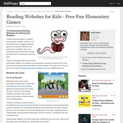 Reading Websites for Kids - Free Fun Elementary Games