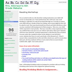 Reading Workshop - Mrs. Atkinson's 4th Grade Website