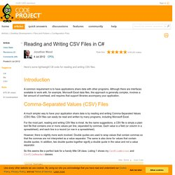 Reading and Writing CSV Files in C#