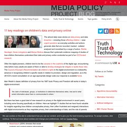 11 key readings on children's data and privacy online