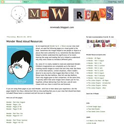 Wonder Read Aloud Resources