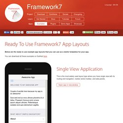 Ready To Use Framework7 App Layouts