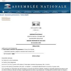 Texte adopté n°433 - Résolution réaffirmant le droit fondamental à l'interruption volontaire de grossesse en France et en Europe