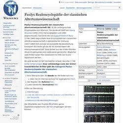 Paulys Realencyclopädie der classischen Altertumswissenschaft – Wikisource