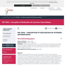 BTS CRSA - Conception et Réalisation de Systemes Automatiques - Lycée Pablo Picasso, 66000 - GRETA PYRENEES ORIENTALES