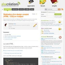 Réalisation d'un design complet (HTML / CSS) en 4 étapes