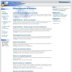 Nos réalisations - Windev, Windev Mobile, Visual Basic, Delphi, Access - JM-Contacts