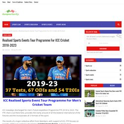 Realised Sports Events Tour Programme For ICC Cricket 2018-2023