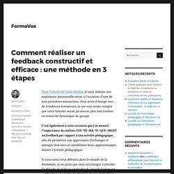 Comment réaliser un feedback constructif et efficace : une méthode en 3 étapes – FormaVox