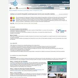lettres - réaliser un carnet d'enquête numérique pour écrire une nouvelle réaliste
