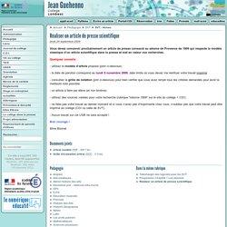 Réaliser un article de presse scientifique - Collège Jean Guéhenno à Lambesc