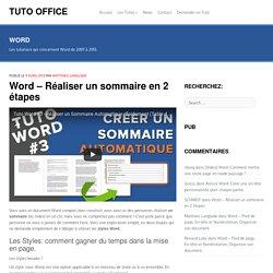 Word - Réaliser un sommaire automatique en 2 étapes
