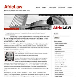 Realising inclusive education for children with disabilities in Lesotho