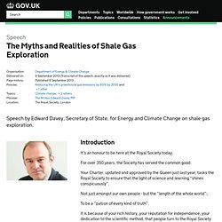 The Myths and Realities of Shale Gas Exploration - Speeches