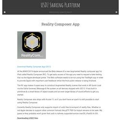 Reality Composer App – USDZ Sharing Platform