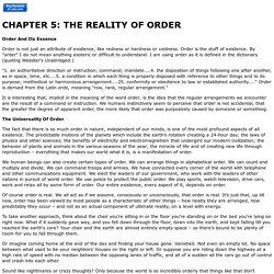 REALITY OF ORDER