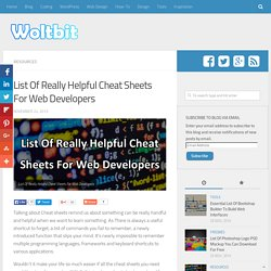 List Of Really Helpful Cheat Sheets For Web Developers