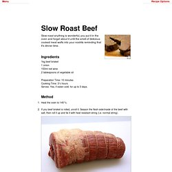 Really Nice Recipes - Slow Roast Beef