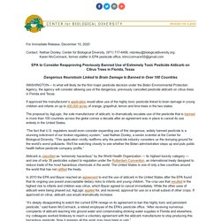 CENTER FOR BIOLOGICAL DIVERSITY 10/12/20 EPA to Consider Reapproving Previously Banned Use of Extremely Toxic Pesticide Aldicarb on Citrus Trees in Florida, Texas