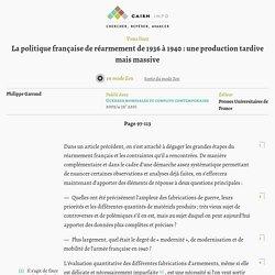 La politique française de réarmement de1936 à 1940: une production tardive mais massive