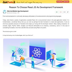 Reason To Choose React JS As Development Framework