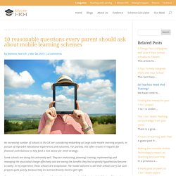 10 reasonable questions every parent should ask about mobile learning schemes