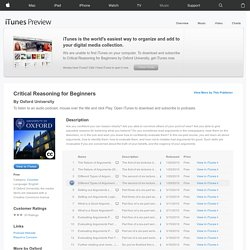 Critical Reasoning for Beginners - Download free content from Oxford University on iTunes