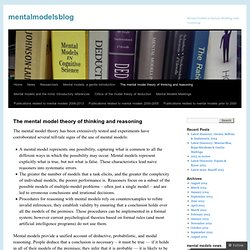 The mental model theory of thinking and reasoning