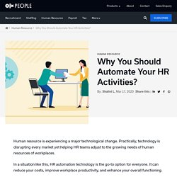 9 Reasons Why HR Activities Should Get Automated