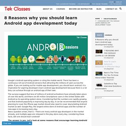 8 Reasons why you should learn Android app development today