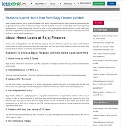 Reasons to avail Home loan from Bajaj Finance Limited