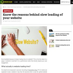 Know the reasons behind slow loading of your website