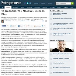 15 Reasons You Need a Business Plan