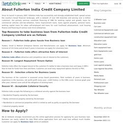 Reasons to avail Business Loans from Fullerton India