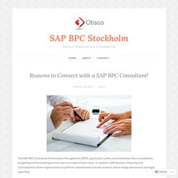 Reasons to Connect with a SAP BPC Consultant! – SAP BPC Stockholm