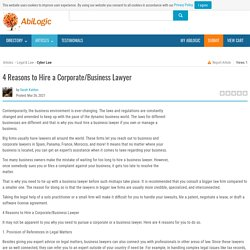 4 Reasons to Hire a Corporate/Business Lawyer