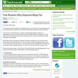 Five Reasons Why Corporate Blogs Fail - Technorati Guru