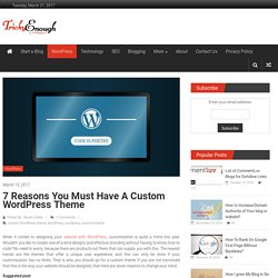 7 Reasons You must have a Custom WordPress Theme - Tricky Enough