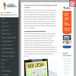 Top reasons to opt for web design services in India