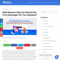 Solid Reasons Why You Should Hire A Pro Developer For Your Business?