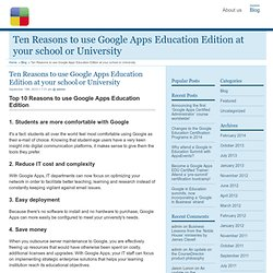 Ten Reasons to use Google Apps Education Edition at your school or University