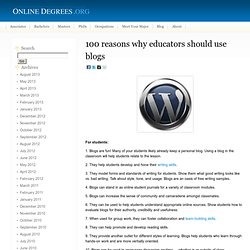 100 reasons why educators should use blogs
