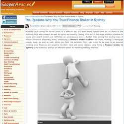 The Reasons Why You Trust Finance Broker In Sydney