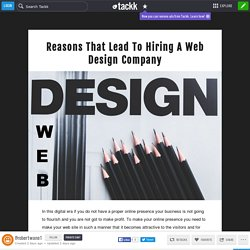 Reasons That Lead To Hiring A Web Design Company