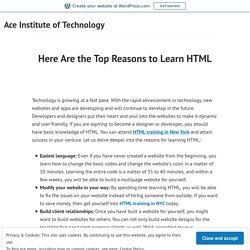 Here Are the Top Reasons to Learn HTML – Ace Institute of Technology